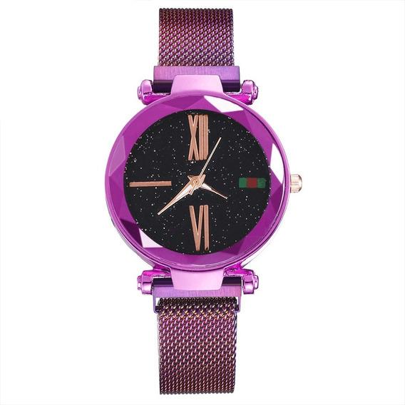 Relógio Pulso Geometrica Feminino Roxo Quartzo Promoção