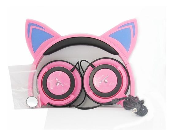 Fone De Ouvido Orelha De Gato Com Led Ear Cat Universal.