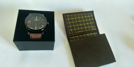 Relógio Masculino Pulseira Couro + Brinde Oferta