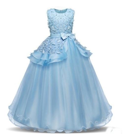 Vestido Infantil Festa Longo No Pé Princesa 15 Anos E Dama