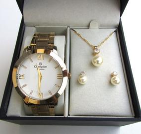 Relógio Champion Feminino Cn29169b + Kit Presente 3 Peças