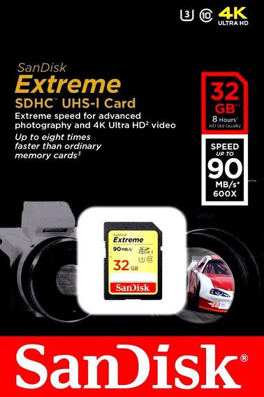 Cartão De Memoria Sd 32gb Sandisk Extreme Classe 10