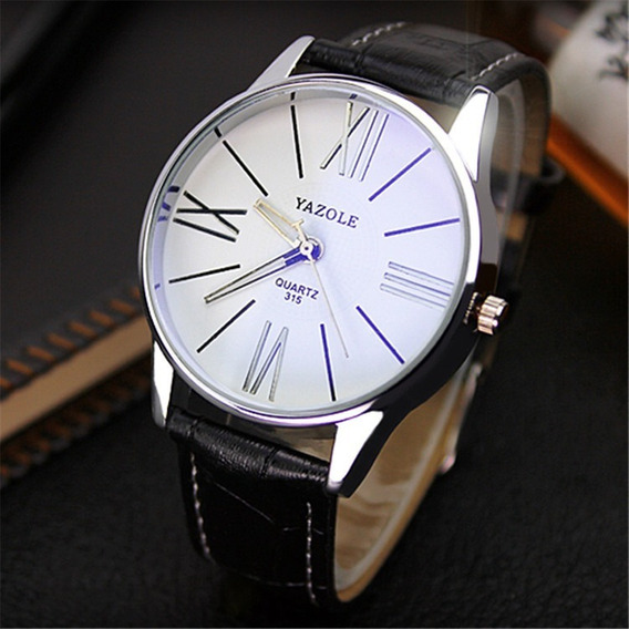 Reloj Hombre Grande Blanco Con Reflejante Azul