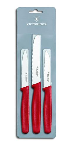 Imagen 1 de 4 de Cuchillos Victorinox P/ Verduras X3 Rojo Y Negro 5.1111.3