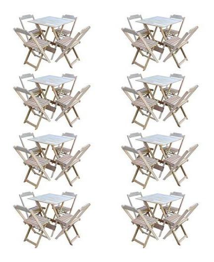 Kit 8 Conjuntos De Mesa Com 4 Cadeiras De Madeira Dobravel 70x70 Sem Pintura/crua
