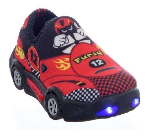 Tenis Infantil Masculino Carros Furioso Vermelho Com Luzinha