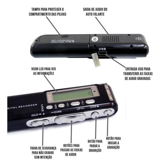 Gravador Digital De Voz E Telefone Espião 8gb / F-967