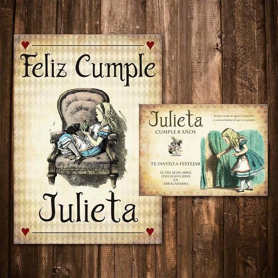 Kit Imprimible Alicia En El País Personalizado Invitaciones