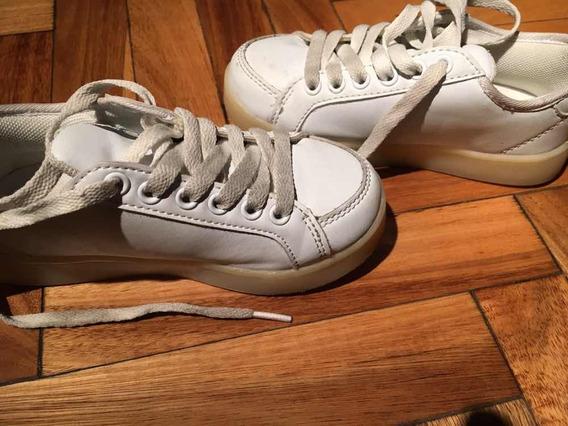 Zapatillas Footy Blancas Con Luces, Con Cargador Usb
