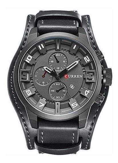 Relógio Masculino Curren 8225 Bracelete Couro Preto