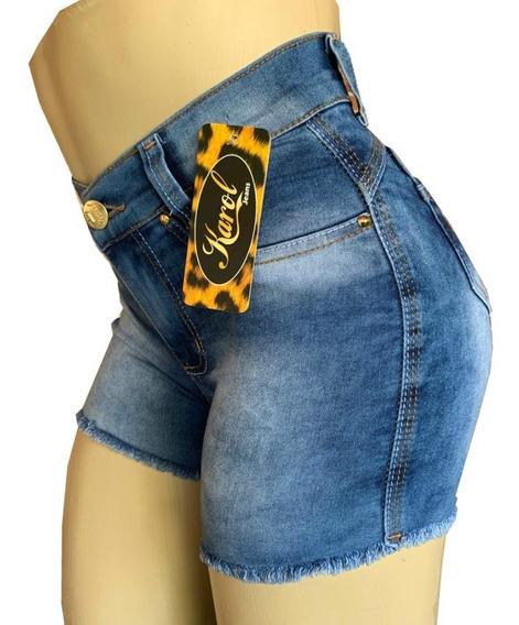 Shorts Feminino Cintura Alta Jeans Elastano Lycra