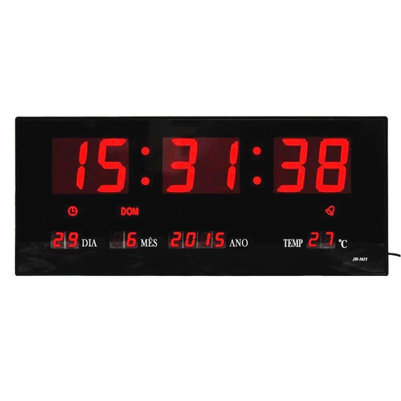 Relógio Parede Digital Led Grande Data Mês E Ano Temper 36cm