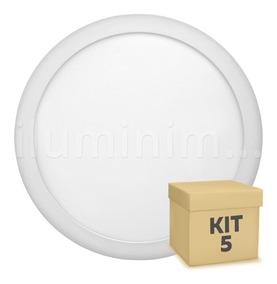 Kit 5 Painel Plafon 25w Led Embutir Redondo Branco Frio