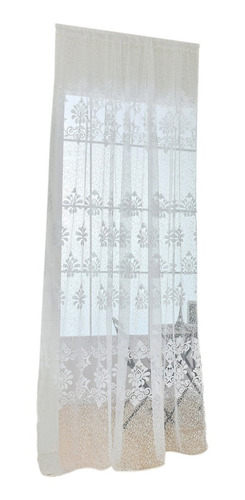 Imagen 1 de 12 de Cortina Cl?sica De Gasa Floreada Transparente, Blanco