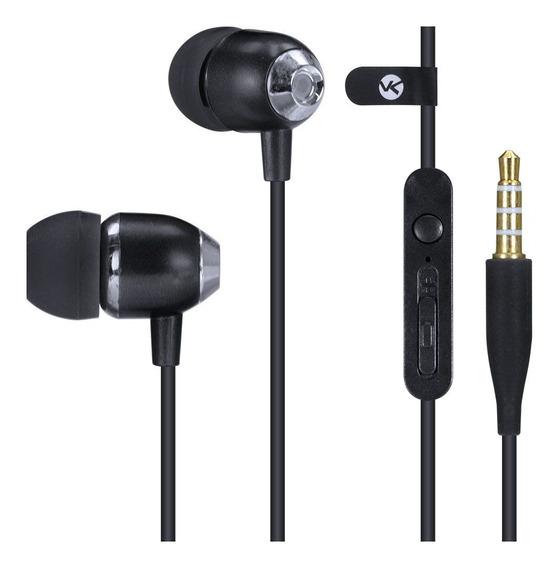 Fone De Ouvido Sound Casual Preto Metálico Com Microfone