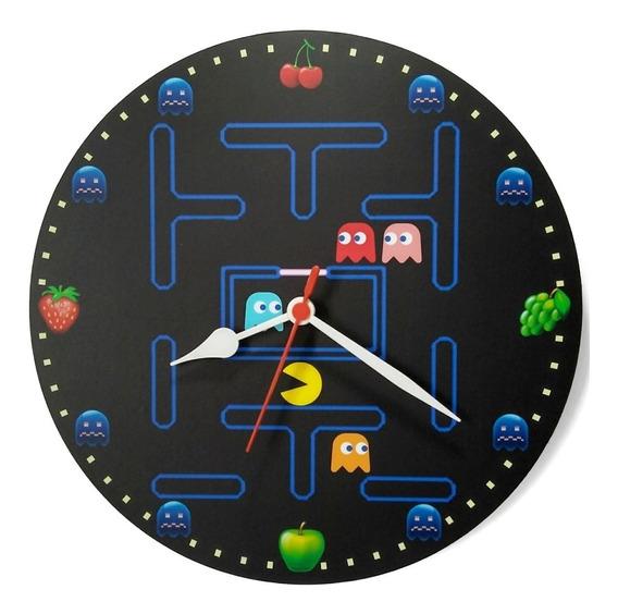Relógio Parede Pac Man Vídeo Game Jogo Nintendo Nerd 30cm