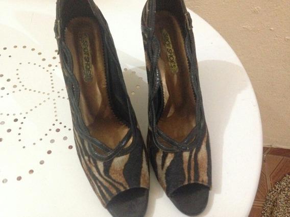 Scarpin Spot Shoes 38 Onça Salto Alto Fino