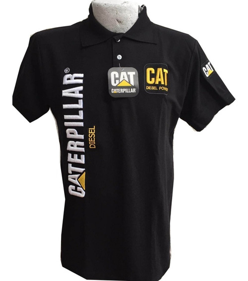 Playera Tipo Polo Caterpillar Cat Negra Envío Gratis