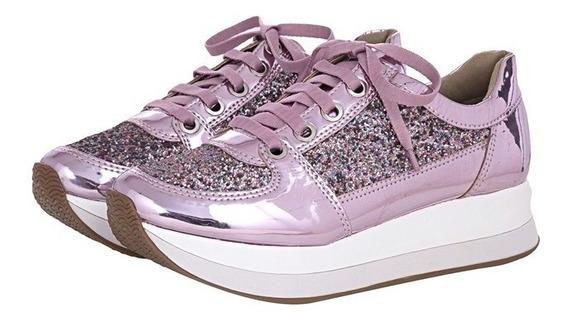 Tênis Com Glitter Pink