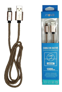 Cable Inova V8 1mt Mallado Usb Flexible Cab065 Carga Celular