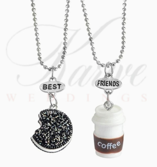 Collar Best Friends amistad cadena cadena joyas 2tlg corazón pedrería blogueros