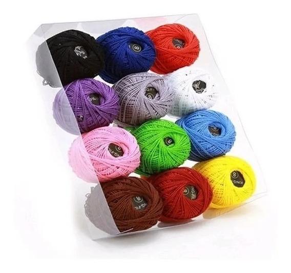 Kit Linha Crochê Com 12 Mini Novelos De 40m - Cores Variadas