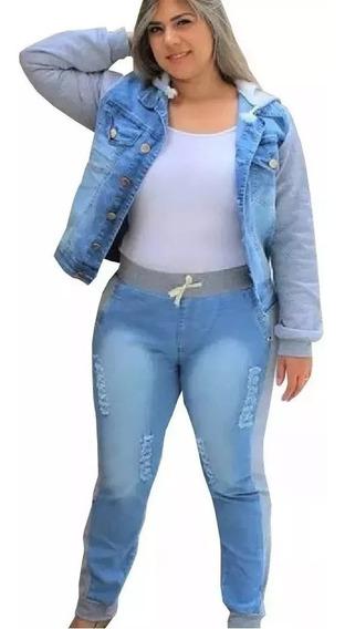 Conjunto Jeans Com Moletom Plus Size Do 46 Ao 56