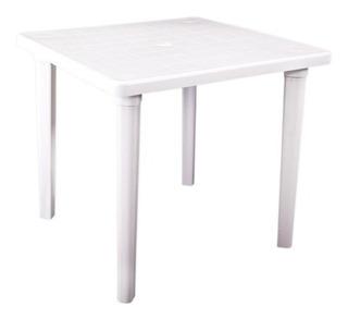 Mesa Cuadrada Plastico 80x80 Patas Desmont Color Blanco