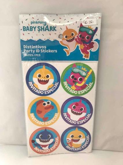 24 Distintivo Baby Shark Calcomania Invitado E Cumpleaños Gm