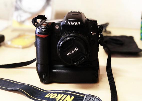 Camera Digital Nikon D80 + Lente 50mm F1.8 + Grip