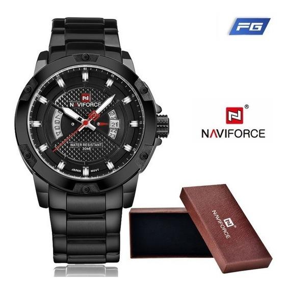 Relógio Masculino Esportivo Militar Aço Naviforce Original