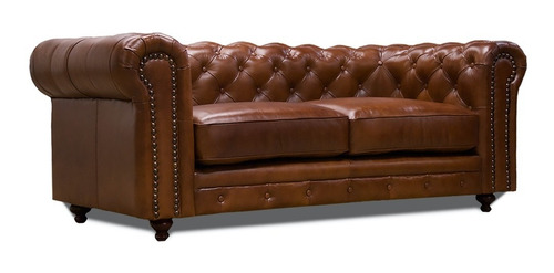 Love Seat Piel Genuina - Chesterfield - Conforto Muebles
