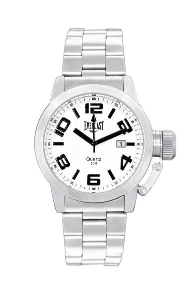 Relógio Pulso Everlast Unissex Aço Calendário Branco E052