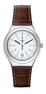 Reloj Swatch Hombre Appia Yws401 Cuero Marrón Acero Sumergib