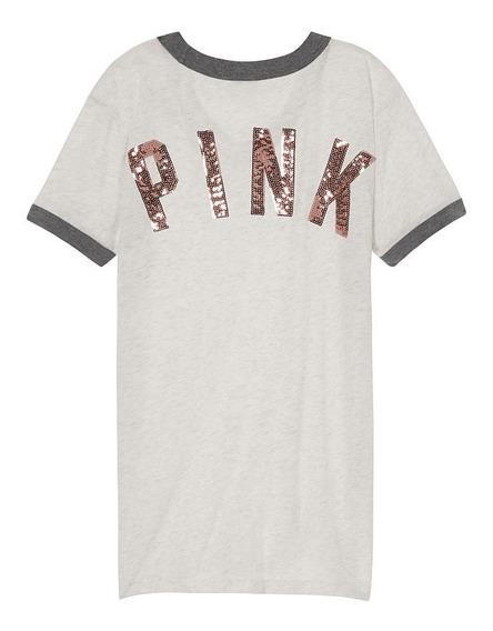 Remera Gris Lentejuelas Oro Rosado Pink S Victoria