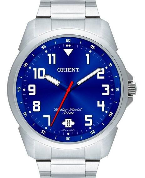 Relógio Orient Masculino Prata Fundo Azul Mbss1154a D2sx