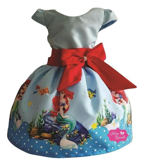 Vestido Tematico Infantil Personagem Ariel Pequena Sereia