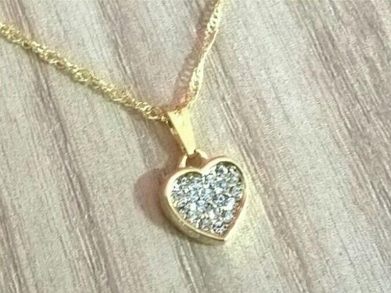 Colar Coração Com Strass 100% Folheado A Ouro 18k