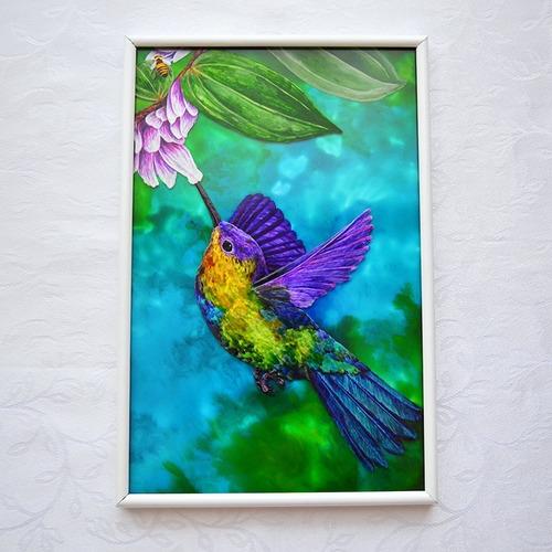 Pintura Em Vidro (vitral) Beija-flor Colorido / Colibri