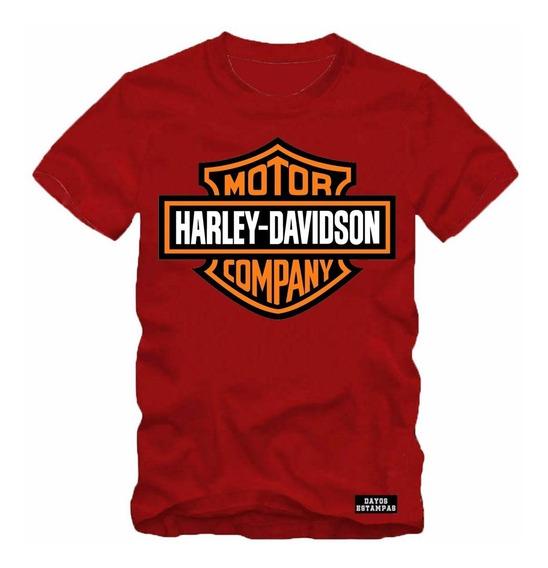 Camiseta Camisa Harley Davidson Logo Motociclista Algodao