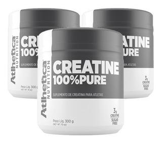 Kit 3 Creatina Creatine 100% Pura 300g - Atlhetica Nutrition