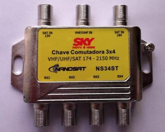 Chave Comutadora 3x4 Advansat Nova Na Caixa