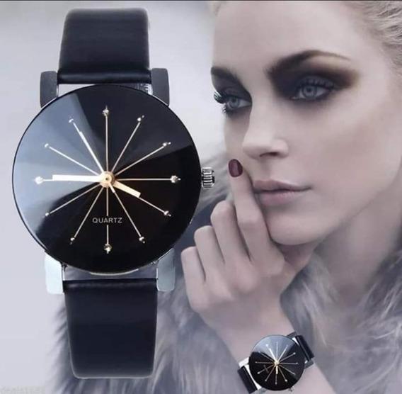 Relógio Quartzo Diamante Pulseira Couro Sintético