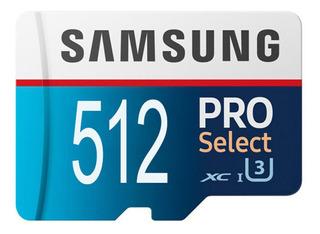 Cartão De Memória Samsung 512 Gb Pro Select Micro Sd 4k Ultr