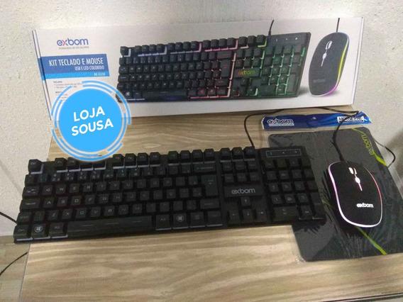 Kit Teclado Semi Mecânico E Mouse Gamer + Mousepad Exbom