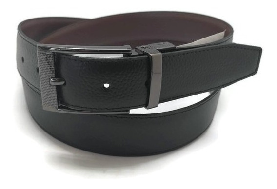 Cinturón Piel Genuina Royal Swiss Hebilla Grabada Reversible