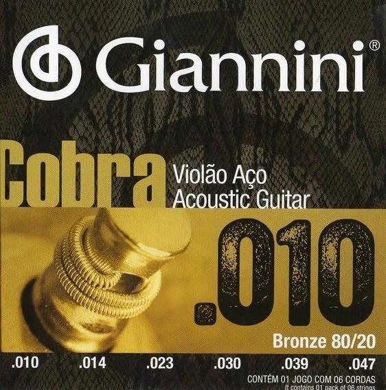 Jogo De Cordas Violão Aço Serie Cobra 010 Giannini 80/20