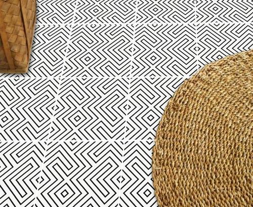 Adesivo Piso Sala Quarto Azulejo Labirintico Kit 3 Rolos
