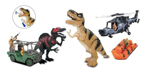 Set Vehiculo + Dinosaurio + Lancha + Moto + Exploradores