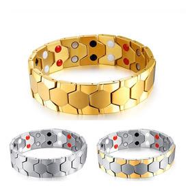Pulseira Masculina Bracelete Aço Titânio + Ouro 18k - 18mm